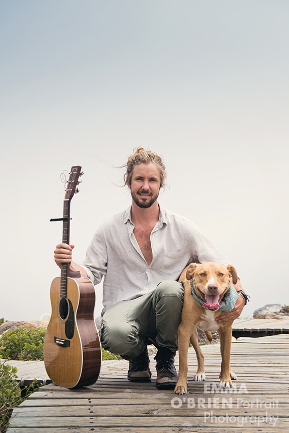 Jeremy Loops and rescue dog Maya photographed on location in cape Town by Emma O'Brien