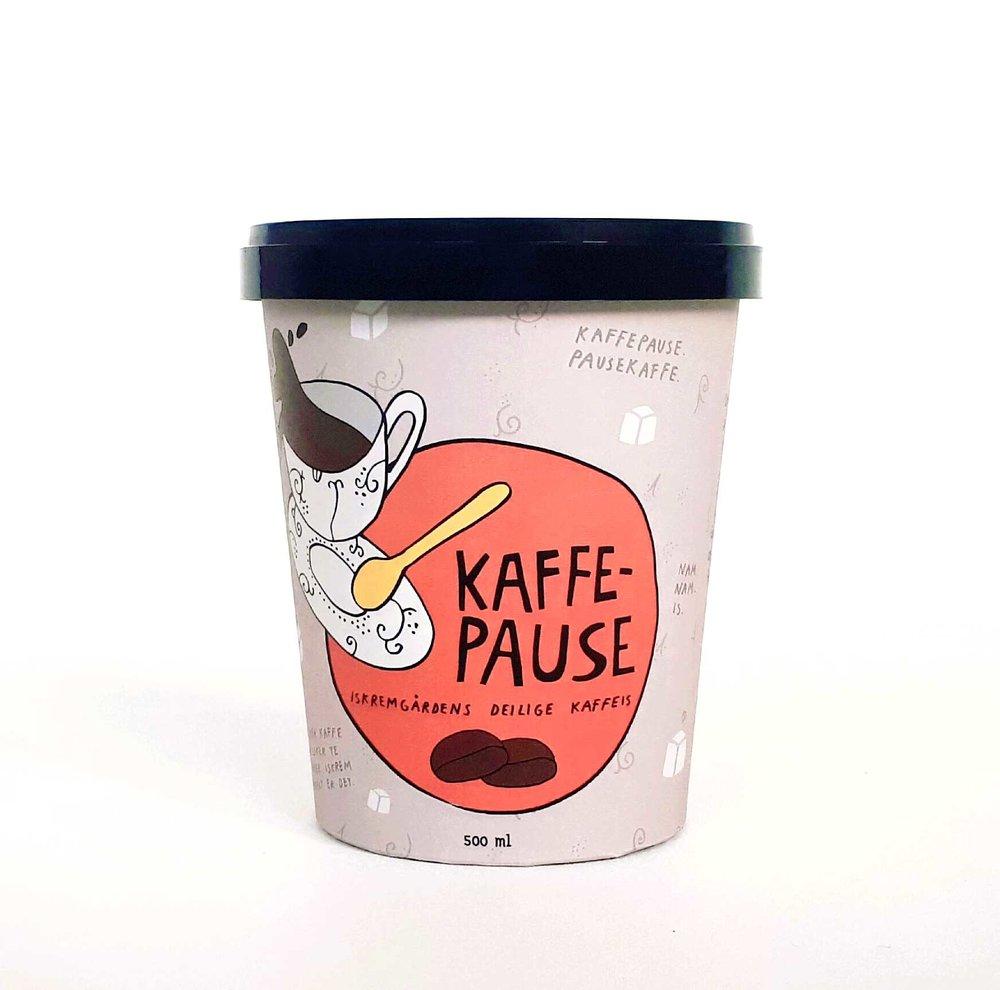KAFFEPAUSE   Iskremgårdens deilige kaffeis. Noen liker kaffe, noen liker te, alle liker iskrem - så enkelt er det!  Kaffepause eller pausekaffe. Slå to fluer i en smekk. Kaffepause nytes alene eller sammen med en søtsak.