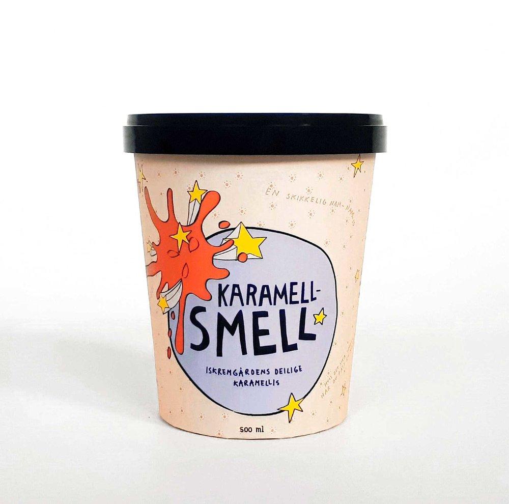 KARAMELLSMELL   Iskremgårdens deilige is med salt karamellsaus. En skikkelig nam-nam-is.   Har du smakt søtt og salt sammen? Det må være verdens beste kombinasjon.Hvilken isglede!
