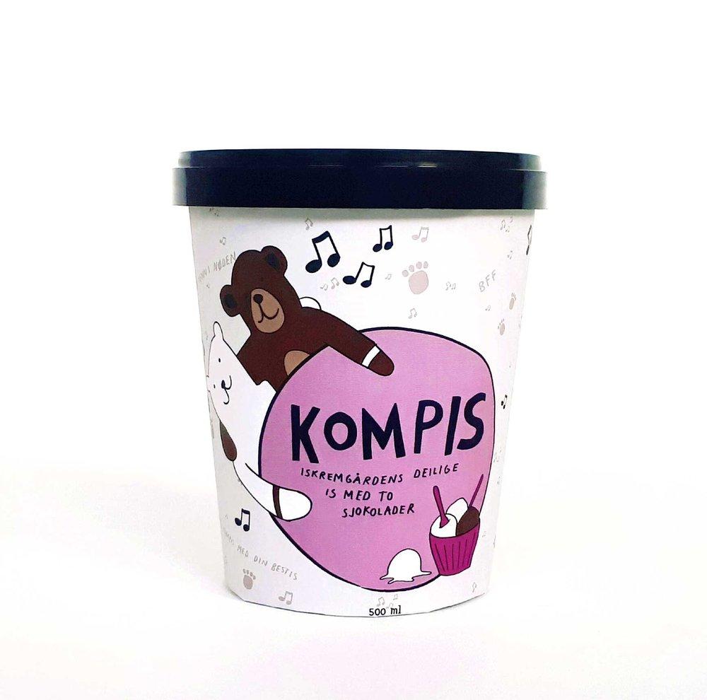 KOMPIS   Iskremgårdens deilige is med hvit og mørk sjokolade. En venn i nøden.   Den hvite sjokoladen er brukt i iskremen. Den mørke sjokoladen er blandet inn i tynne lag. To sjokolader som fungerer utmerket sammen.