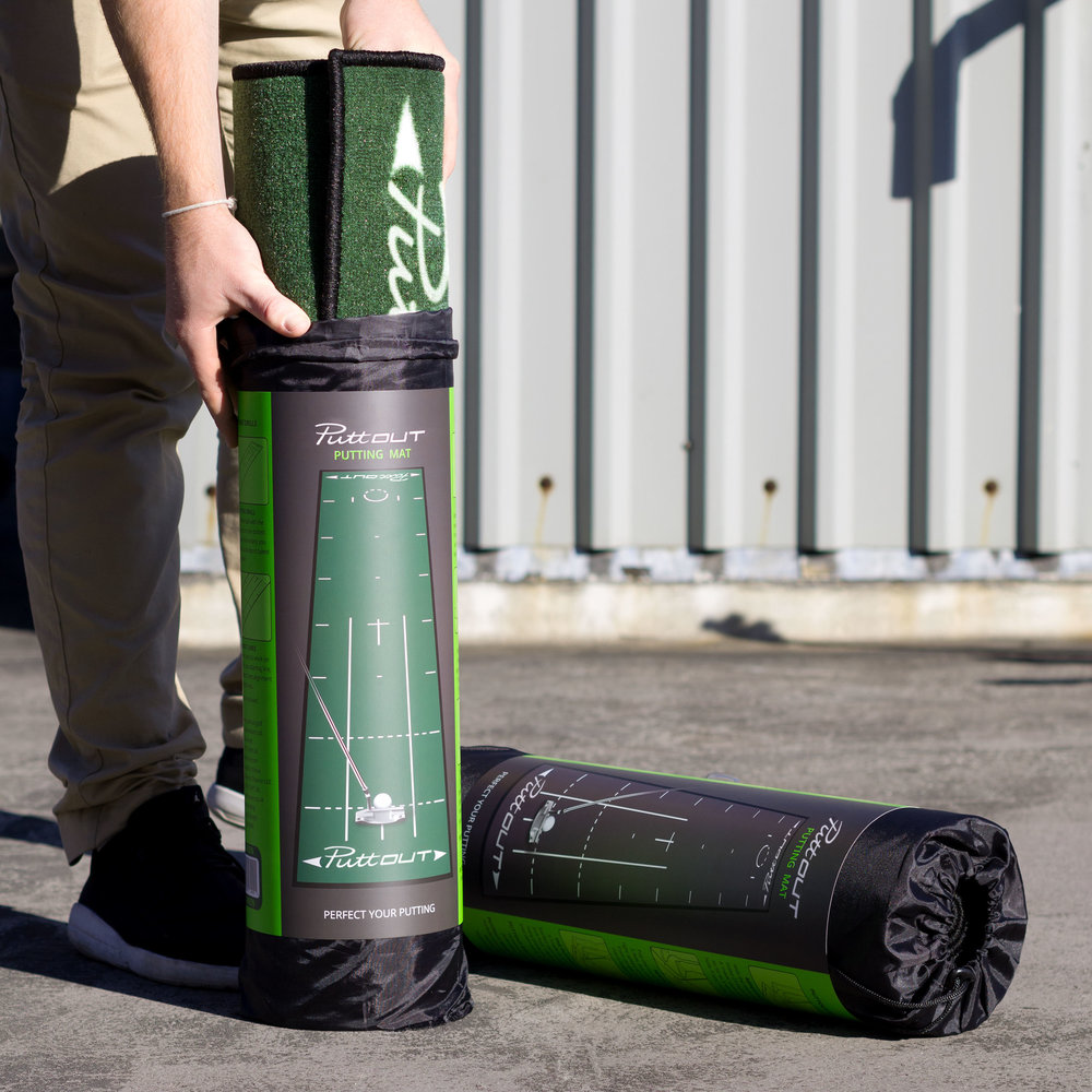 Packaging Design - Cased in a protective, dense cardboard cylinder, our mats stay tightly pressed and crease-free. Paired with a low-profile drawstring carry bag, this is the perfect station to practice putting anywhere, any time.
