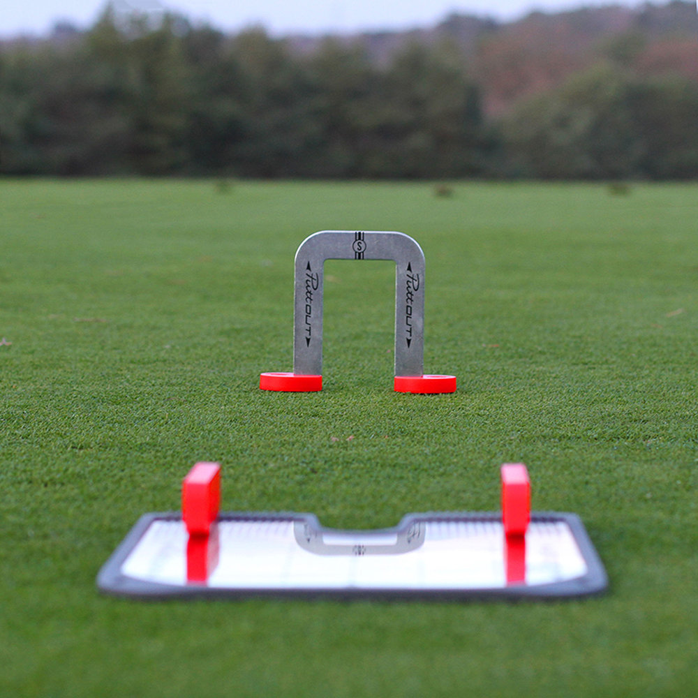Putting Gates - Using the guides to ensure the path is square, place the gates a couple of feet in front of the mirror to have the ball is consistently starting on line. If you prefer to putt to midway point, try getting the ball through the gate on its way to the final target on straight or breaking putts.