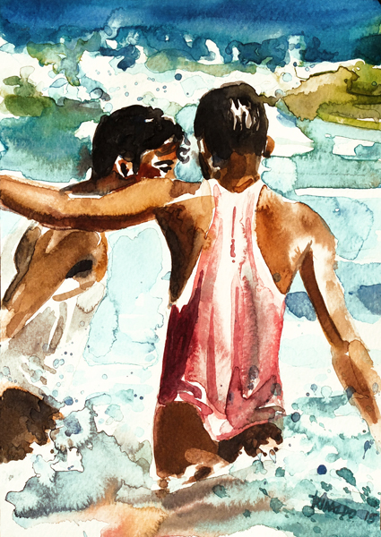TWO BOYS BATHING