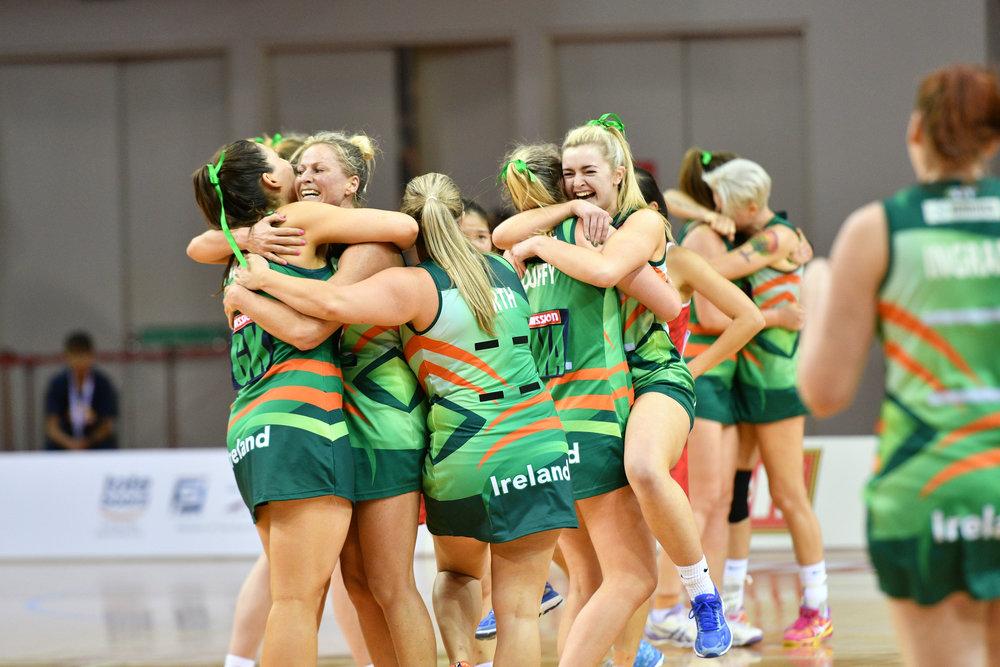 Team Ireland celebrating their win after a good match.