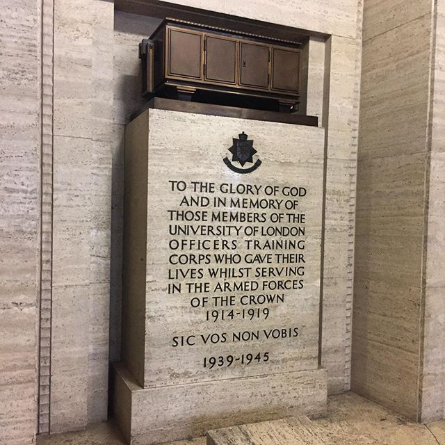 The Roll of Honour atop a memorial to the #UniversityofLondon Cadets serving in the #armedforces in #WWI and #WWII. The #Senate House Library next to the #British #Museum was once home to the Ministry of Information during #WW2. #warmemorials #worldwar1 #warmemorial #warmemorials #inmemoriam