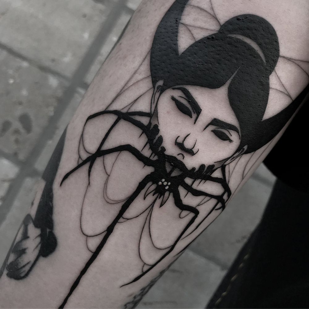 BLACKWORK  Dark, aesthetic and tight. An individual style born in the 21st century. Only made in black.   Recommended artist: Volkov