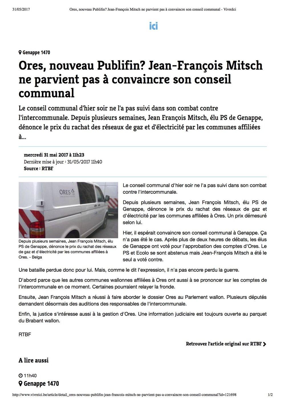 Ores, nouveau Publifin_ Jean-François Mitsch ne parvient pas à convaincre son conseil communal - VivreIci.jpg