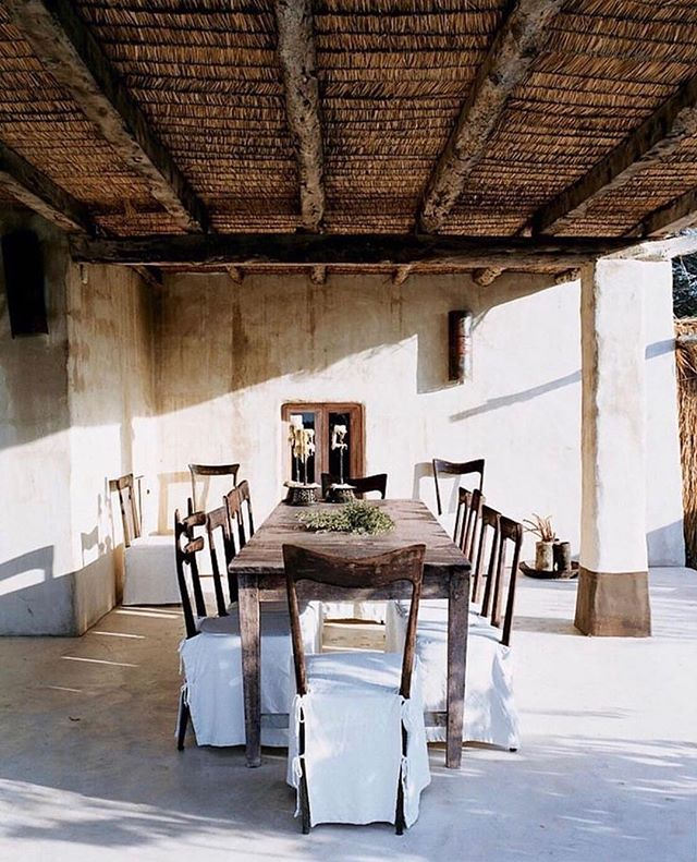 what: dining room of marni's consuelo and gianni castiglioni where: formentera, spain, as seen in @voguemagazine why: because casual cool, all you need