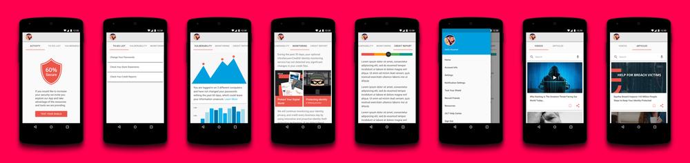 IdentityForce Mobile App Selected Screens