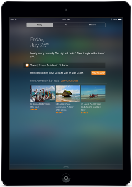 Viator's iOS 8 Today Feature iPad Widget