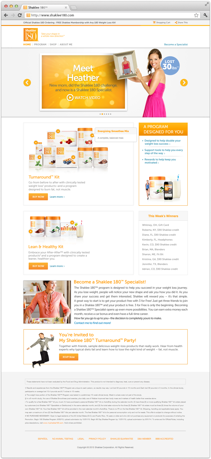 Shaklee 180 Website Home Page