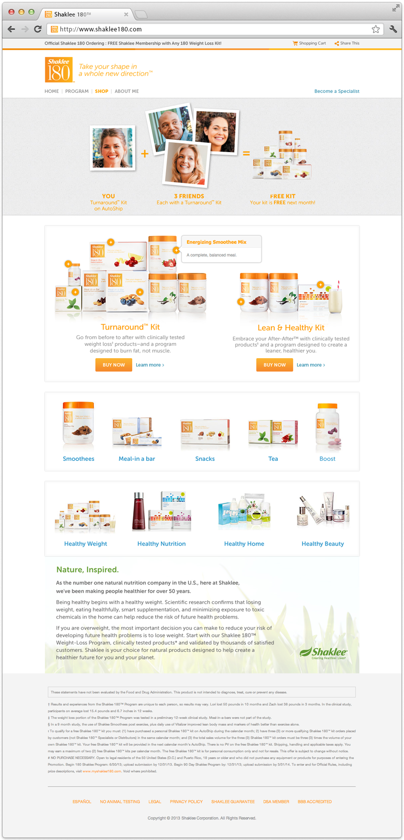 Shaklee 180 Website Shop Page