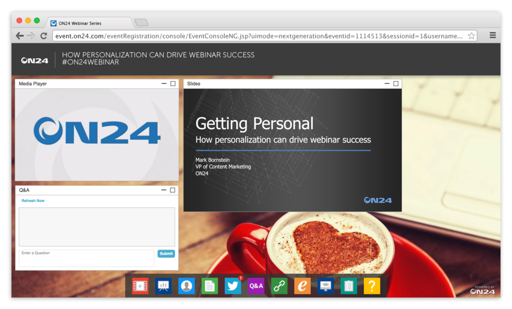 "ON24 Platform 10 ON24's On Demand Webinar ""Getting Personal"""