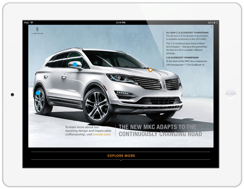 Lincoln MKC Tablet Ad Experience Features Screen with Closed Menu