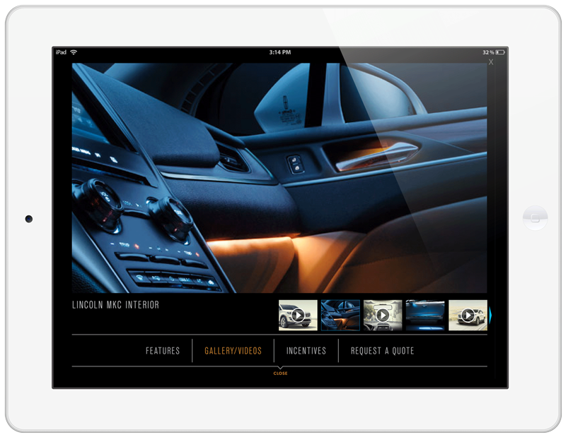 Lincoln MKC Tablet Ad Experience Image/Video Gallery Screen