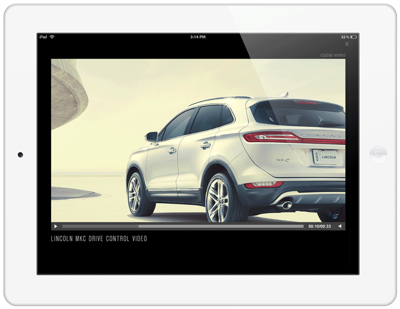 Lincoln MKC Tablet Ad Experience Playing Video Screen