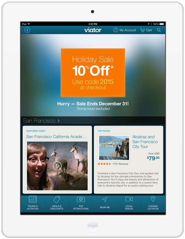Viator's Mobile Promo iPad Portrait - 1536px X 956px