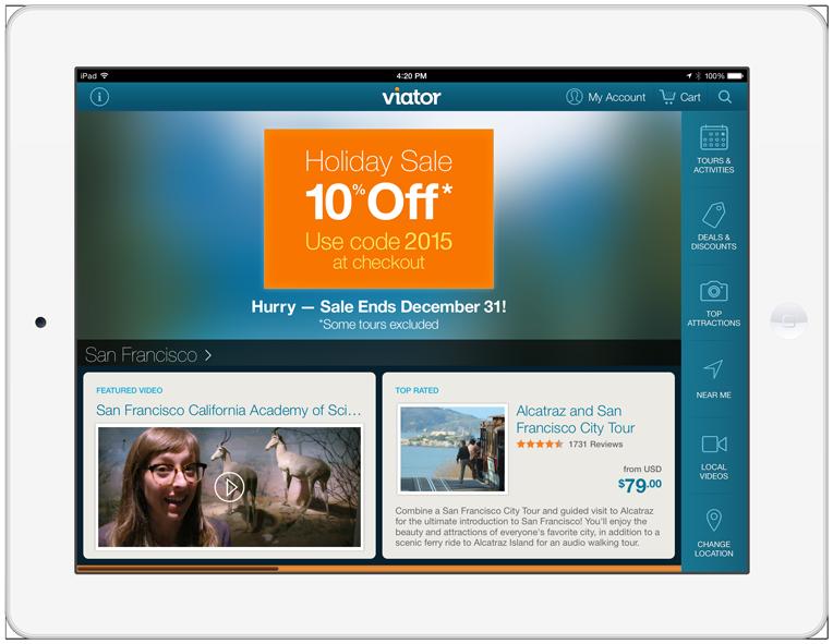 Viator's Mobile Promo iPad Landscape - 1848px X 758px