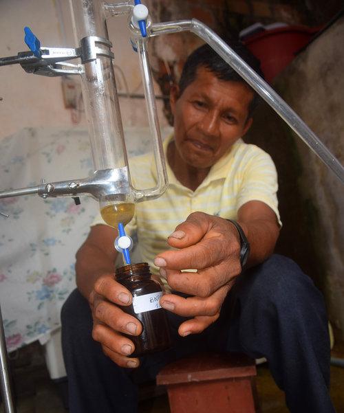 Productorr bora de palisandro recolectando aceite esencial de una destilación. Foto: Campbell Plowden