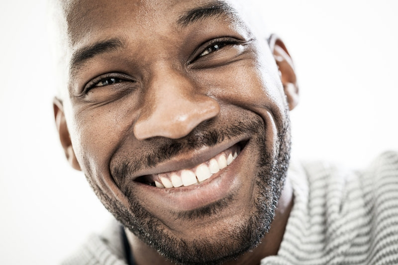 Close-up of man with healthy, straight teeth