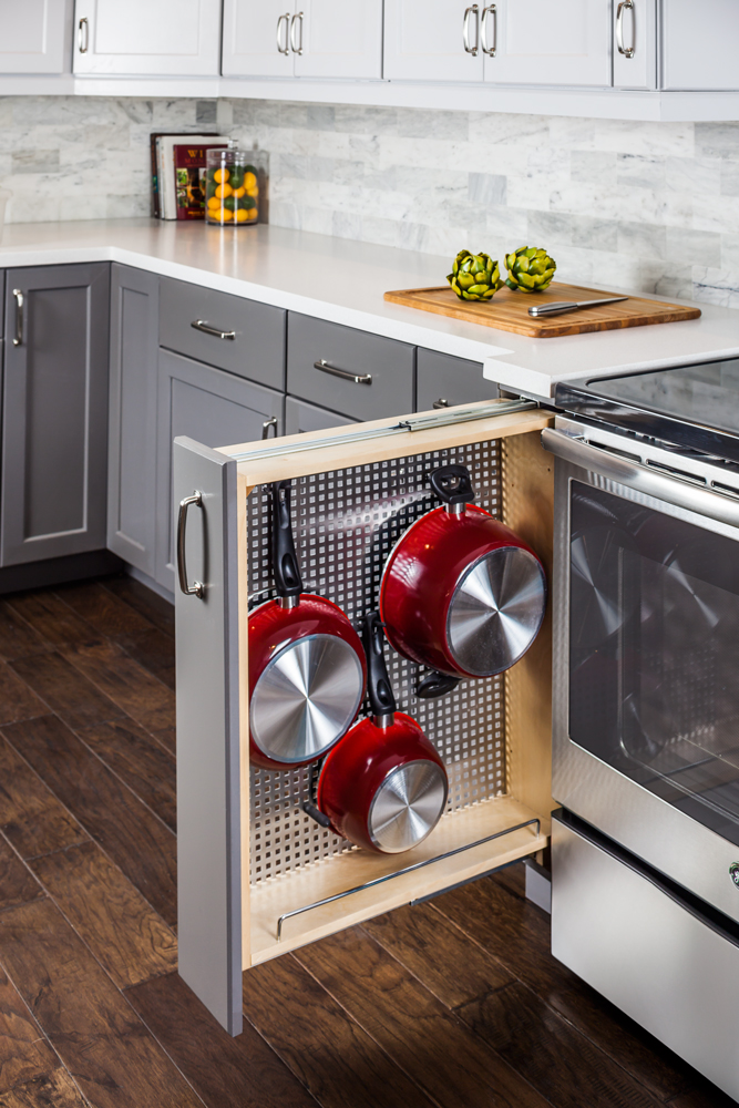 Base Cabinet Filler With Stainless Steel Pegboard Organizer Cw