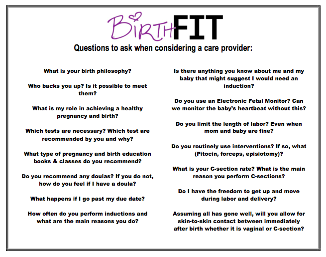 Use this sheet to guide you when interviewing different care providers. Add your own questions to the sheet as well.