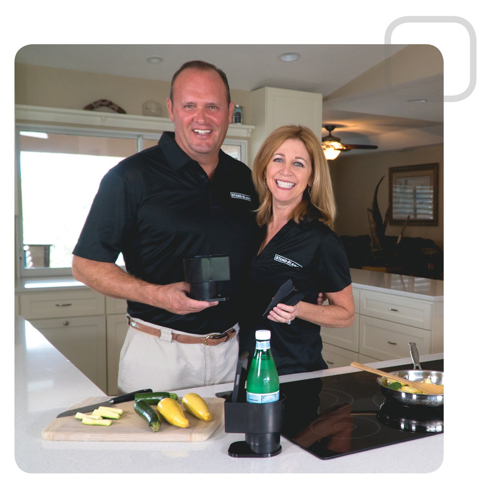 John & Caroline  - the couple behind  Stand-Bi®  phone and beverage holder.