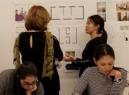 Rosalyn critiquing Parson Design students' work. November 2017.