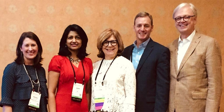(Left to Right) Amanda Mewborn (Piedmont), Sheba Ross (HKS), Rosalyn Cama (CAMA), Steve Higgs (CBRE) and Bob Farrow (HKS) at the 2017 Healthcare Design Conference. October 2017.