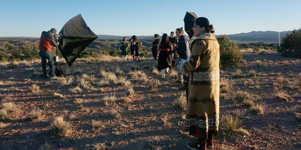 On site Cochiti Pueblo Fashion Shoot. Cara Romero Photography x Indigenous Goddess Gang 2018