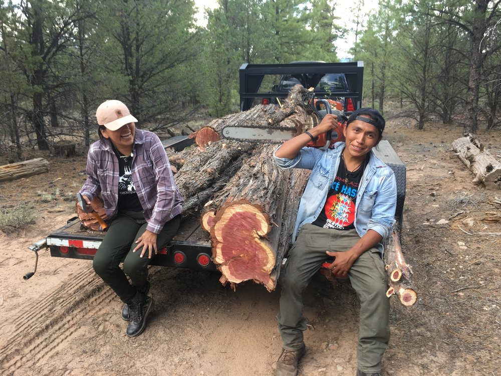 Log hauling for our ancestral home & sweat lodge.