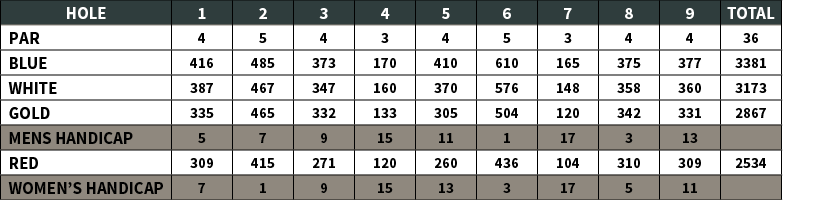 Snee Farm Golf Course | Yardage Chart 1