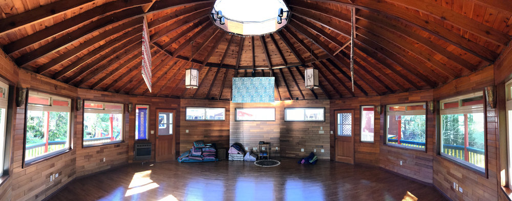 This 30 foot cedar round room can hold 16 people comfortably doing Yoga, and more doing meditation and dance gatherings. The room is heated and has surround sound.