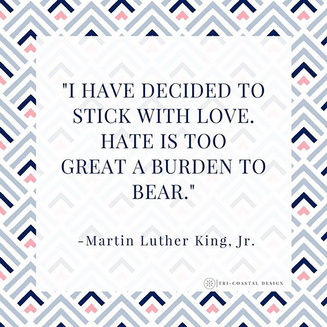 """I have decided to stick with love. Hate is too great a burden to bear."" #StickWithLove today and everyday ❤️ #martinlutherkingjrday #martinlutherkingday #martinlutherkingjr #mlk #mlkjrday #ihaveadream #forward #loveislove #equality #equalrights #inspiration #mondaymotivation #mondaymood"