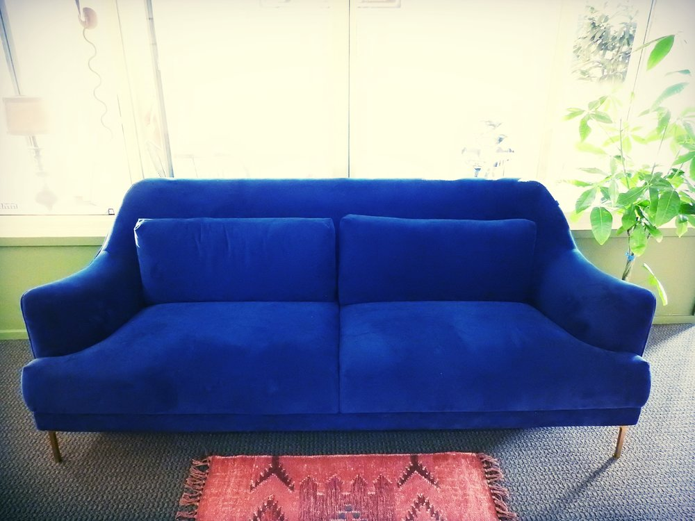 Something Blue Velvet Couch - (1)