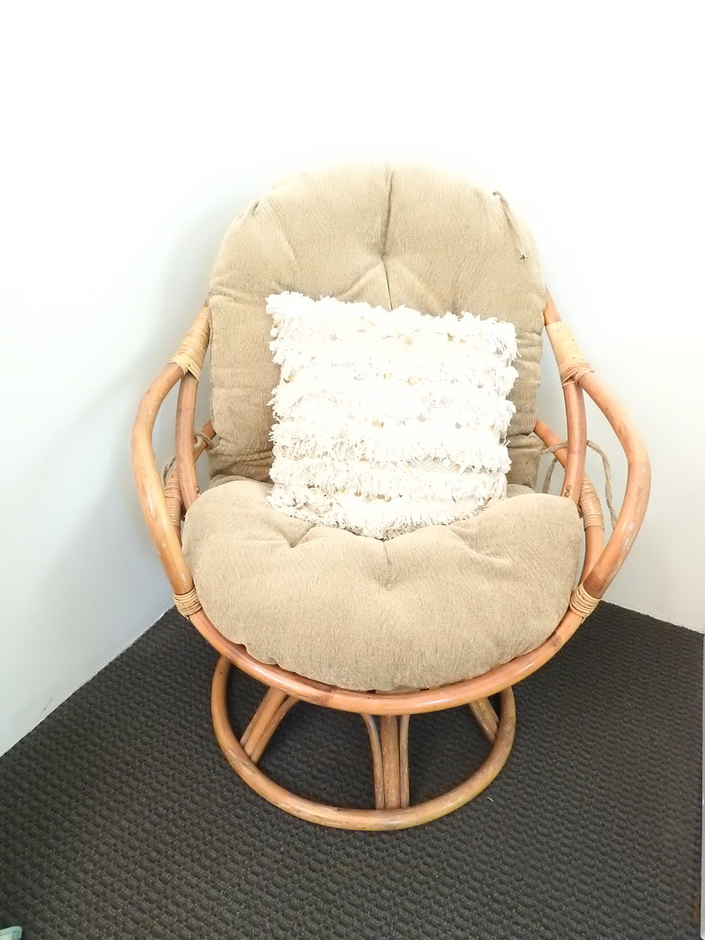 Vintage Rattan Swivel Chair - (1)
