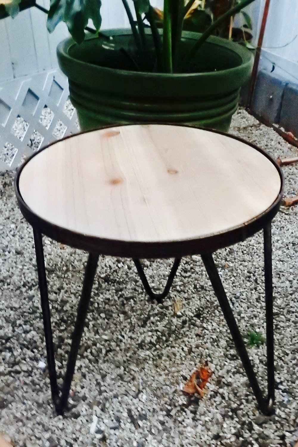 Hairpin Wood + Metal Small Table - (2)
