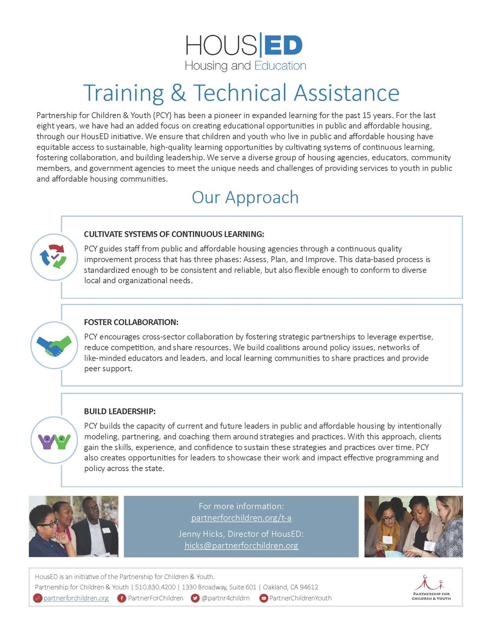 HousED Training & Technical Assistance - Learn more about PCY's approach to training and technical assistance for our HousED initiative.