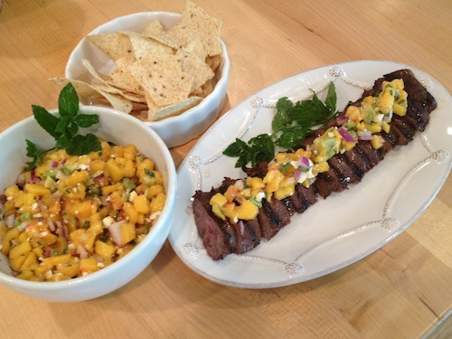 Peach salsa & skirt steak