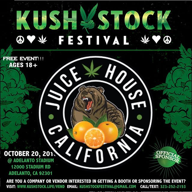 Who's ready?? @_juicehouse will be at #kushstockfestival 6 Saturday, October 20 @adelantostadium  Ages 18+ FREE ADMISSION . Performances by: @bonethugsnharmony_ @thekottonmouthkings_ @irienationz @comptonmenace @mrcriminal . Vip from the amazing @medicatedbarbies make sure to get your tickets at www.kushstock.life/tickets . Handicap accessible @aslforprop215patients 3 stages of music from @therollupshow and a amazing infield experience from @greenholdingsgroup with Reggae to Rock and roll.  KUSHSTOCK supports local artist with our Art is life brought to you by @sandsurfer86  Or watch a wrestling caged match with @dirtyronmcdonald  View amazing Glass Blowing from @xdabs in our Glass on Glass section. Skaters paradise with @shurikensjoint will have a half pipe from @instaramp . Companies can sign up @ www.kushstock.life/booths