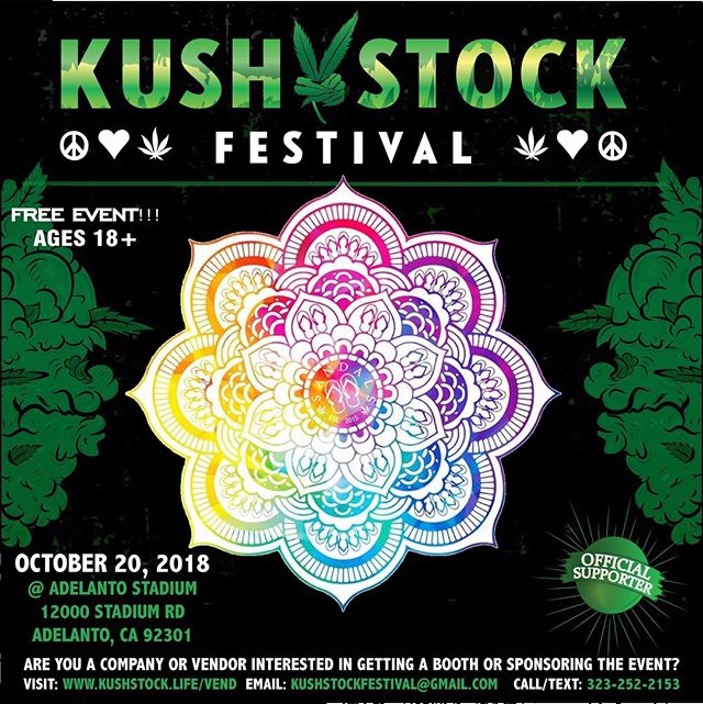 Who's ready?? @sandalsog_ will be at #kushstockfestival 6 Saturday, October 20 @adelantostadium  Ages 18+ FREE ADMISSION . Performances by: @bonethugsnharmony_ @thekottonmouthkings_ @irienationz @comptonmenace @mrcriminal . Vip from the amazing @medicatedbarbies make sure to get your tickets at www.kushstock.life/tickets . Handicap accessible @aslforprop215patients 3 stages of music from @therollupshow and a amazing infield experience from @greenholdingsgroup with Reggae to Rock and roll.  KUSHSTOCK supports local artist with our Art is life brought to you by @sandsurfer86  Or watch a wrestling caged match with @dirtyronmcdonald  View amazing Glass Blowing from @xdabs in our Glass on Glass section. Skaters paradise with @shurikensjoint will have a half pipe from @instaramp . Companies can sign up @ www.kushstock.life/booths