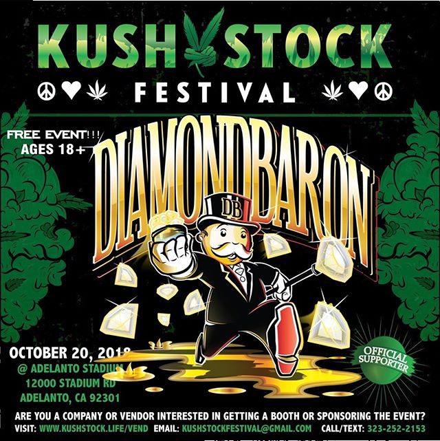 Who's ready?? @the_diamondbaron will be at #kushstockfestival 6 Saturday, October 20 @adelantostadium  Ages 18+ FREE ADMISSION . Performances by: @bonethugsnharmony_  @thekottonmouthkings_  @irienationz  @comptonmenace  @mrcriminal  @ras_kass Son Doobie from Funkdoobiest  @supremeiself from Wu-Tang @loomis . Vip from the amazing @medicatedbarbies make sure to get your tickets at www.kushstock.life/vip . Handicap accessible @aslforprop215patients 3 stages of music from @therollupshow and a amazing infield experience from @greenholdingsgroup with Reggae to Rock and roll.  A FREE CAR GIVEAWAY KUSHSTOCK supports local artist with our Art is life brought to you by @sandsurfer86  Or watch a wrestling caged match with @dirtyronmcdonald  View amazing Glass Blowing from @xdabs in our Glass on Glass section. Skaters paradise with @shurikensjoint will have a half pipe from @instaramp . Companies can sign up @ www.kushstock.life/booths