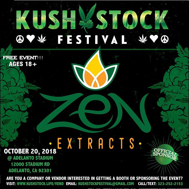 Who's ready?? @zen_extracts will be at #kushstockfestival 6 Saturday, October 20 @adelantostadium  Ages 18+ FREE ADMISSION . Performances by: @bonethugsnharmony_ @thekottonmouthkings_ @irienationz @comptonmenace @mrcriminal . Vip from the amazing @medicatedbarbies make sure to get your tickets at www.kushstock.life/tickets . Handicap accessible @aslforprop215patients 3 stages of music from @therollupshow and a amazing infield experience from @greenholdingsgroup with Reggae to Rock and roll.  KUSHSTOCK supports local artist with our Art is life brought to you by @sandsurfer86  Or watch a wrestling caged match with @dirtyronmcdonald  View amazing Glass Blowing from @xdabs in our Glass on Glass section. Skaters paradise with @shurikensjoint will have a half pipe from @instaramp . Companies can sign up @ www.kushstock.life/booths