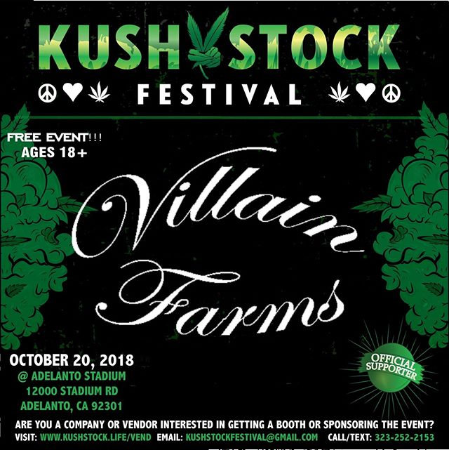 Who's ready?? @villain_farms will be at #kushstockfestival 6 Saturday, October 20 @adelantostadium  Ages 18+ FREE ADMISSION . Performances by: @bonethugsnharmony_ @thekottonmouthkings_ @irienationz @comptonmenace @mrcriminal . Vip from the amazing @medicatedbarbies make sure to get your tickets at www.kushstock.life/tickets . Handicap accessible @aslforprop215patients 3 stages of music from @therollupshow and a amazing infield experience from @greenholdingsgroup with Reggae to Rock and roll.  KUSHSTOCK supports local artist with our Art is life brought to you by @sandsurfer86  Or watch a wrestling caged match with @dirtyronmcdonald  View amazing Glass Blowing from @xdabs in our Glass on Glass section. Skaters paradise with @shurikensjoint will have a half pipe from @instaramp . Companies can sign up @ www.kushstock.life/booths