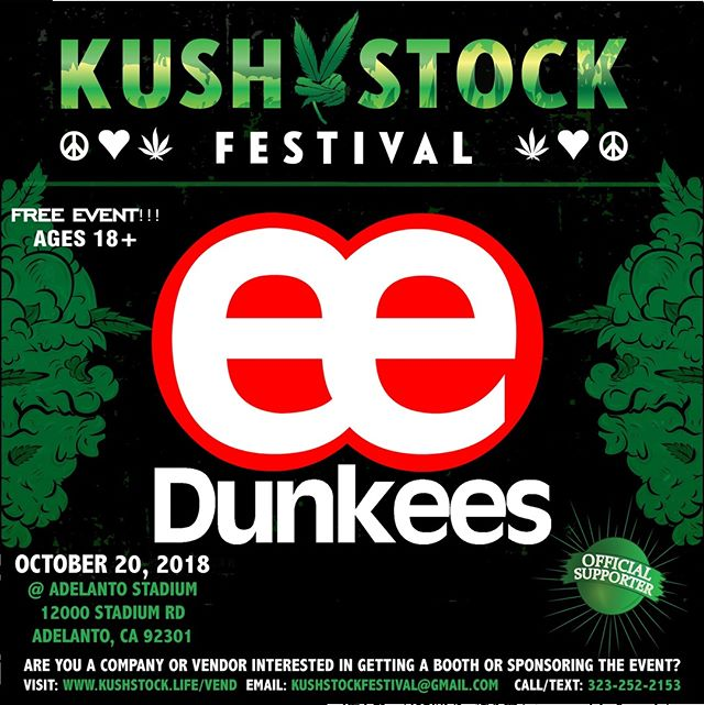 Who's ready?? @dunkees will be at #kushstockfestival 6 Saturday, October 20 @adelantostadium  Ages 18+ FREE ADMISSION . Performances by: @bonethugsnharmony_ @thekottonmouthkings_ @irienationz @comptonmenace @mrcriminal . Vip from the amazing @medicatedbarbies make sure to get your tickets at www.kushstock.life/tickets . Handicap accessible @aslforprop215patients 3 stages of music from @therollupshow and a amazing infield experience from @greenholdingsgroup with Reggae to Rock and roll.  KUSHSTOCK supports local artist with our Art is life brought to you by @sandsurfer86  Or watch a wrestling caged match with @dirtyronmcdonald  View amazing Glass Blowing from @xdabs in our Glass on Glass section. Skaters paradise with @shurikensjoint will have a half pipe from @instaramp . Companies can sign up @ www.kushstock.life/booths