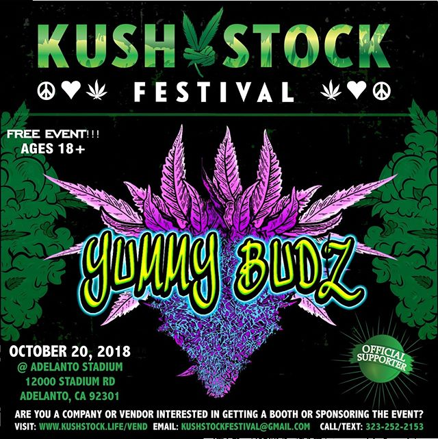 Who's ready?? @yummy.budz will be at #kushstockfestival 6 Saturday, October 20 @adelantostadium  Ages 18+ FREE ADMISSION . Performances by: @bonethugsnharmony_ @thekottonmouthkings_ @irienationz @comptonmenace @mrcriminal . Vip from the amazing @medicatedbarbies make sure to get your tickets at www.kushstock.life/tickets . Handicap accessible @aslforprop215patients 3 stages of music from @therollupshow and a amazing infield experience from @greenholdingsgroup with Reggae to Rock and roll.  KUSHSTOCK supports local artist with our Art is life brought to you by @sandsurfer86  Or watch a wrestling caged match with @dirtyronmcdonald  View amazing Glass Blowing from @xdabs in our Glass on Glass section. Skaters paradise with @shurikensjoint will have a half pipe from @instaramp . Companies can sign up @ www.kushstock.life/booths