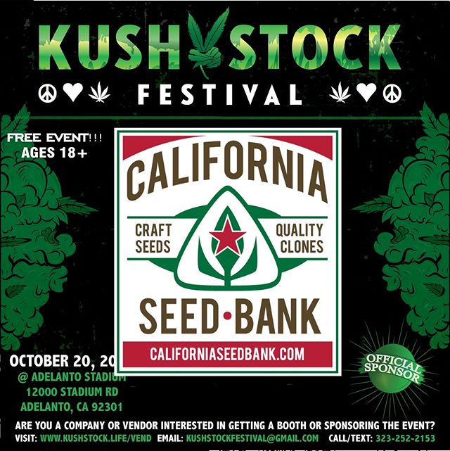Who's ready?? @_californiaseedbank will be at #kushstockfestival 6 Saturday, October 20 @adelantostadium  Ages 18+ FREE ADMISSION . Performances by: @bonethugsnharmony_ @thekottonmouthkings_ @irienationz @comptonmenace @mrcriminal . Vip from the amazing @medicatedbarbies make sure to get your tickets at www.kushstock.life/tickets . Handicap accessible @aslforprop215patients 3 stages of music from @therollupshow and a amazing infield experience from @greenholdingsgroup with Reggae to Rock and roll.  KUSHSTOCK supports local artist with our Art is life brought to you by @sandsurfer86  Or watch a wrestling caged match with @dirtyronmcdonald  View amazing Glass Blowing from @xdabs in our Glass on Glass section. Skaters paradise with @shurikensjoint will have a half pipe from @instaramp . Companies can sign up @ www.kushstock.life/booths