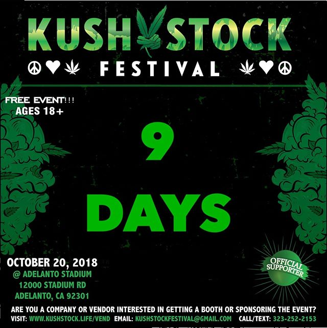 Who's ready?? 9 DAYS till #kushstockfestival 6 Saturday, October 20 @adelantostadium  Ages 18+ FREE ADMISSION . Performances by: @bonethugsnharmony_ @thekottonmouthkings_ @irienationz @comptonmenace @mrcriminal . Vip from the amazing @medicatedbarbies make sure to get your tickets at www.kushstock.life/tickets . Handicap accessible @aslforprop215patients 3 stages of music from @therollupshow and a amazing infield experience from @greenholdingsgroup with Reggae to Rock and roll.  KUSHSTOCK supports local artist with our Art is life brought to you by @sandsurfer86  Or watch a wrestling caged match with @dirtyronmcdonald  View amazing Glass Blowing from @xdabs in our Glass on Glass section. Skaters paradise with @shurikensjoint will have a half pipe from @instaramp . Companies can sign up @ www.kushstock.life/booths