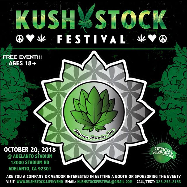 Who's ready?? @Flowerpower_Inc will be at #kushstockfestival 6 Saturday, October 20 @adelantostadium  Ages 18+ FREE ADMISSION . Performances by: @bonethugsnharmony_ @thekottonmouthkings_ @irienationz @comptonmenace @mrcriminal . Vip from the amazing @medicatedbarbies make sure to get your tickets at www.kushstock.life/tickets . Handicap accessible @aslforprop215patients 3 stages of music from @therollupshow and a amazing infield experience from @greenholdingsgroup with Reggae to Rock and roll.  KUSHSTOCK supports local artist with our Art is life brought to you by @sandsurfer86  Or watch a wrestling caged match with @dirtyronmcdonald  View amazing Glass Blowing from @xdabs in our Glass on Glass section. Skaters paradise with @shurikensjoint will have a half pipe from @instaramp . Companies can sign up @ www.kushstock.life/booths