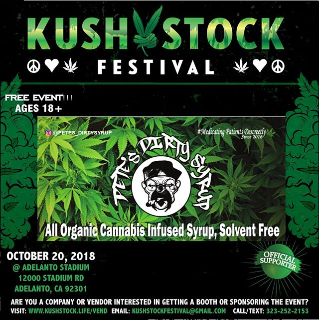 Who's ready?? @petes_dirty_syrup will be at #kushstockfestival 6 Saturday, October 20 @adelantostadium  Ages 18+ FREE ADMISSION . Performances by: @bonethugsnharmony_ @thekottonmouthkings_ @irienationz @comptonmenace @mrcriminal . Vip from the amazing @medicatedbarbies make sure to get your tickets at www.kushstock.life/tickets . Handicap accessible @aslforprop215patients 3 stages of music from @therollupshow and a amazing infield experience from @greenholdingsgroup with Reggae to Rock and roll.  KUSHSTOCK supports local artist with our Art is life brought to you by @sandsurfer86  Or watch a wrestling caged match with @dirtyronmcdonald  View amazing Glass Blowing from @xdabs in our Glass on Glass section. Skaters paradise with @shurikensjoint will have a half pipe from @instaramp . Companies can sign up @ www.kushstock.life/booths